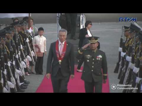 Arrival of Singaporean Prime Minister Lee Hsien Loong 4/28/2017