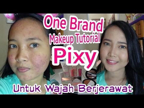 ONE BRAND MAKEUP TUTORIAL PIXY KAWAII UNTUK WAJAH BERJERAWAT | Full Makeup Acne Skin Coverage