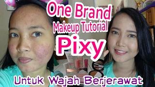 one brand makeup tutorial pixy kawaii untuk wajah berjerawat   full makeup acne skin coverage