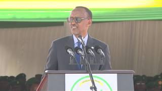 President Kagame speaks  to 180 newly commissioned officer cadets at Rwanda Military Academy.