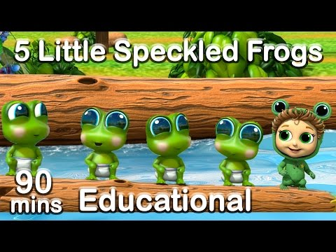 5 Little Speckled Frogs + 90 min Nursery Rhymes Compilation Learn Counting and Colors