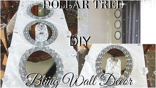 DIY DOLLAR TREE GLAM MIRROR WALL SCONCE   DOLLAR STORE BLING WALL DECOR   DIY ROOM DECOR
