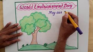 World Environment Day Slogan Drawing & Calligraphy || Save Trees Poster || Save Environment Poster
