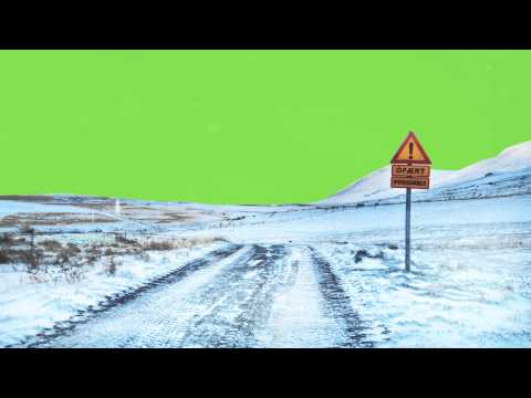 Winter Street and Flying Snow - Green Screen Free Footage