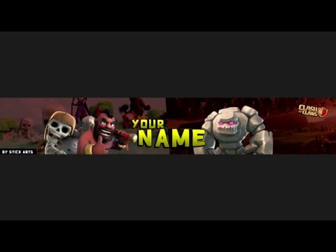CLASH OF CLANS YOUTUBE BANNER TEMPLATE 2016
