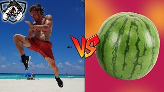 Muay Thai vs Watermelon: Flying Knee