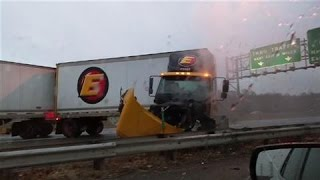 Near Miss: Double Tractor Trailer Skids on Black Ice