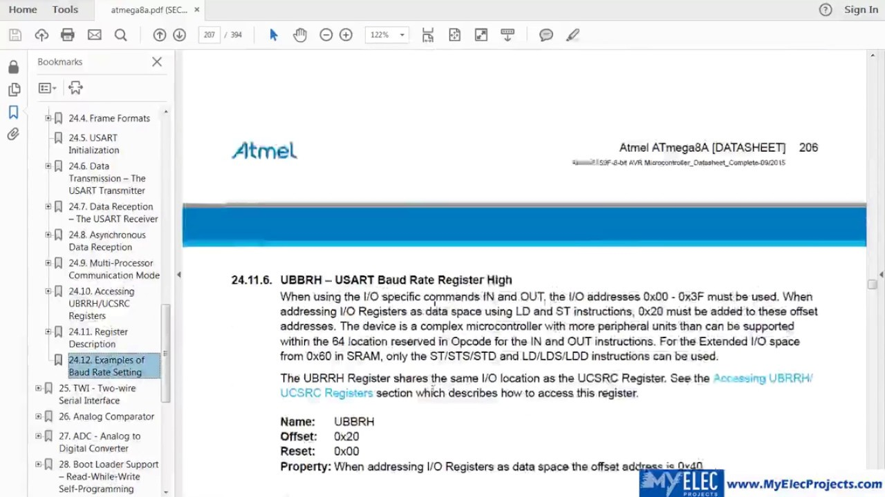USART - Base 2 - AVR Microcontroller Design Tutorials - MyElecProjects com