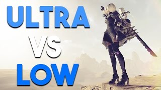NieR Automata PC ULTRA vs LOW Settings Gameplay