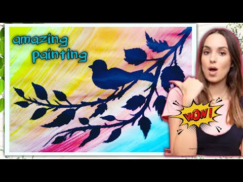 how to draw bird scenery with watercolor  |oil pastel drawing
