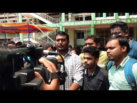 STUDENTS PROTEST AT OUAT FOR RECRUITMENT OF AGRICULTURE JOBS IN ODISHA