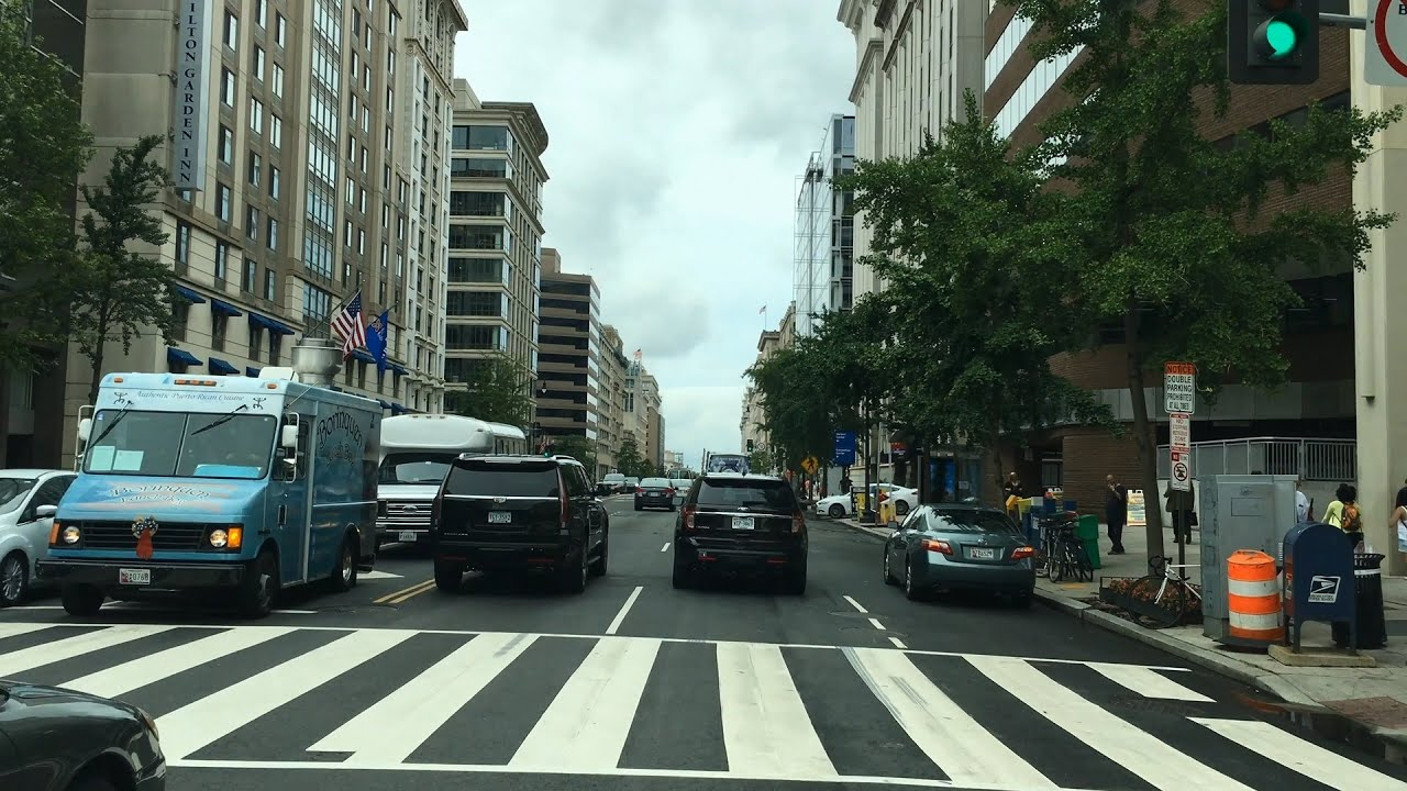 Driving Downtown - DC's Business District 4K - USA