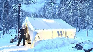 -25C CHRISTMAS DAY WIΝTER CAMPING in a HOT TENT