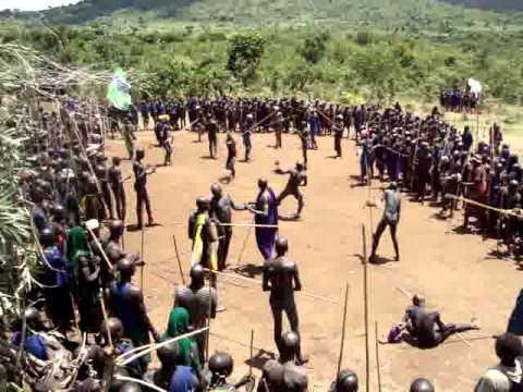 Ethiopia : Upper Omo Valley Suri tribe (aka Surma) tribal Donga Stick Fighting Ceremony