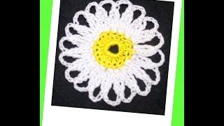 Мотив ромашка крючком. Daisy motif crochet.