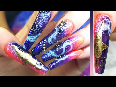Aladdin Inspired Nails Part 3 - The Lamp - Worst Client Ever thumbnail