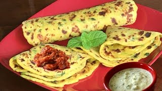 How To Make Quick No Stuff Aloo Paratha | Indian Flat Potato Bread Video Recipe By Bhavna