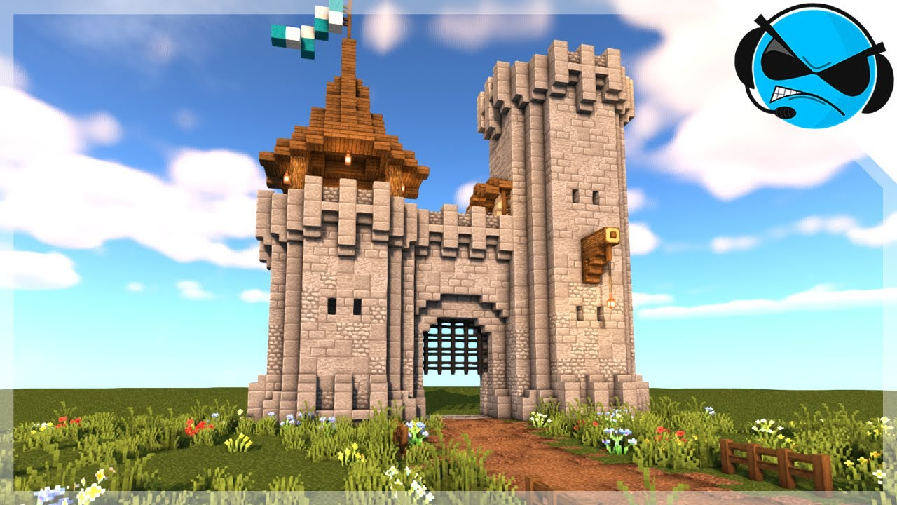 Minecraft How To Build A Castle Gate Minecraft Build Tutorial