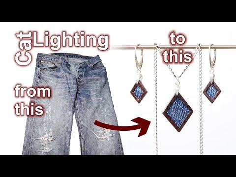 DIY Jewelry From Denim & Wood - Old Jeans Recycled
