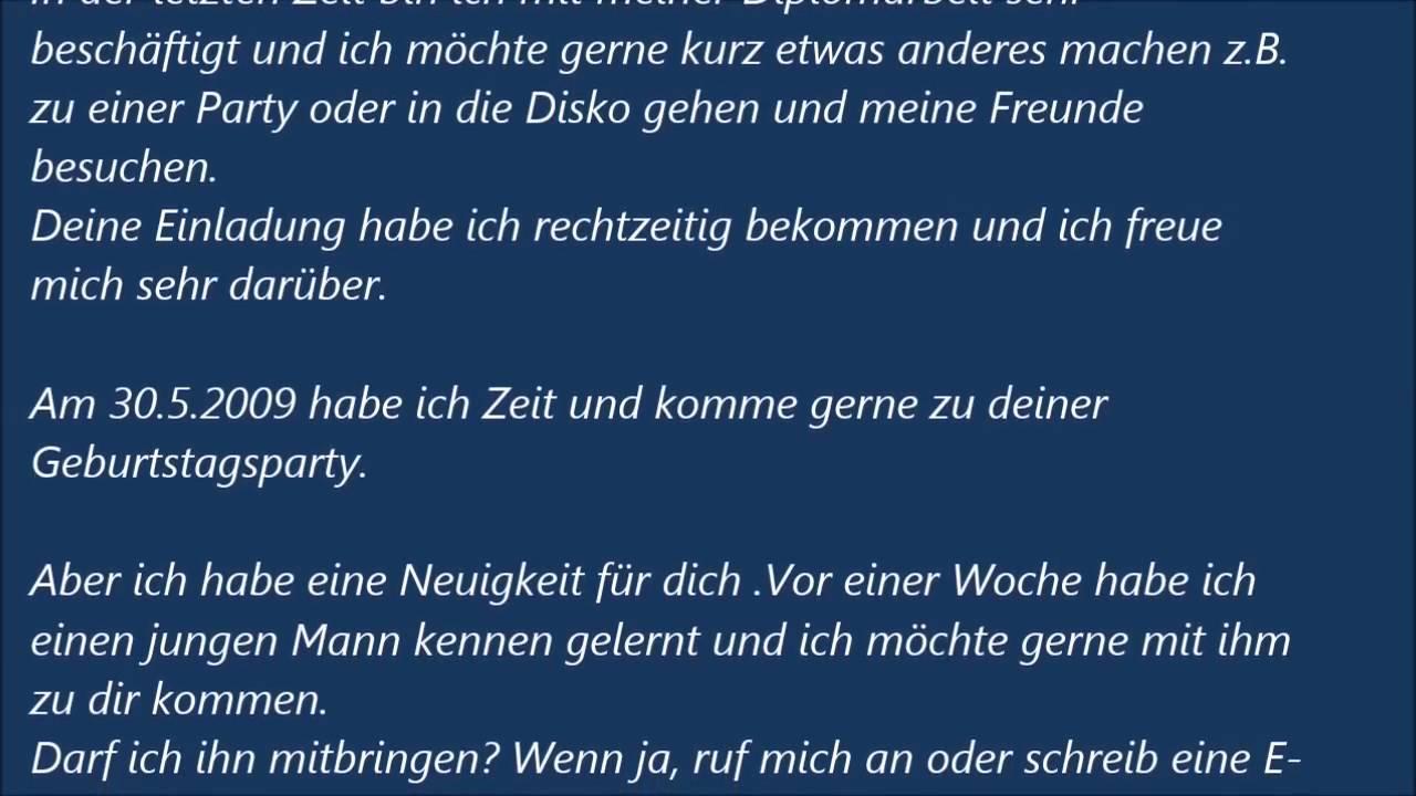 deutsche brief a1 a2 b1 prüfung einladungsbrief 45 - youtube, Einladungen