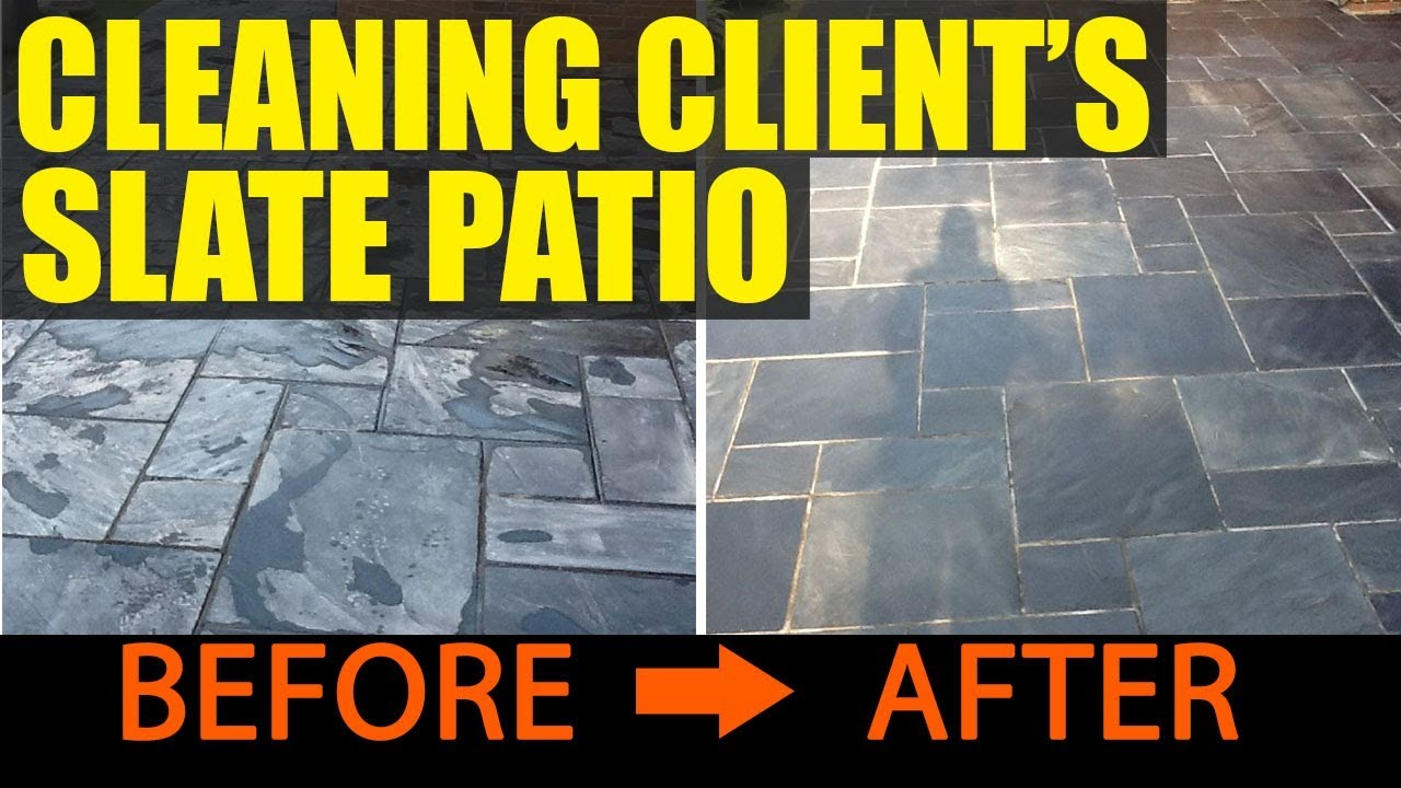 Cleaning Slate On A Client\'s Patio - YouTube