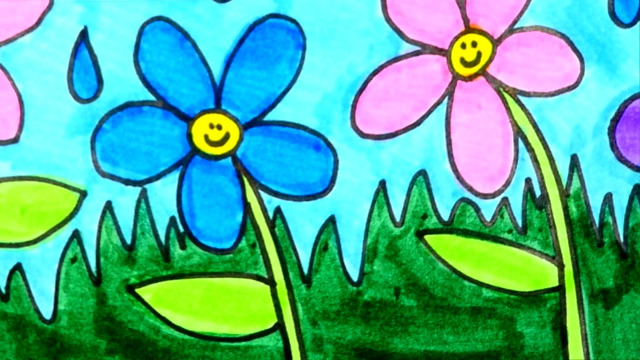 How To Draw And Color Flowers | Flower Coloring Page For Kids - YouTube