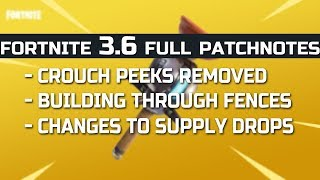 Fortnite REMOVING PEEKS New 36 Update PATCH NOTES