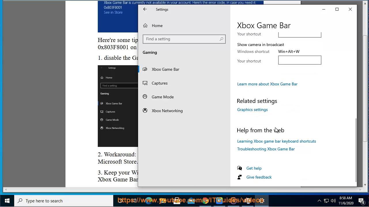 Fix Xbox Game Bar Crashing Error 0x803f8001 On Windows 10 11 30 2020 Re Updated Youtube