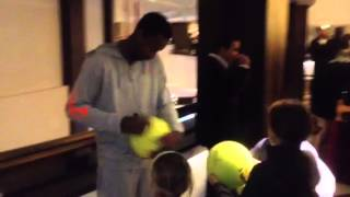 Gael Monfils signing autographs in Budapest 2013