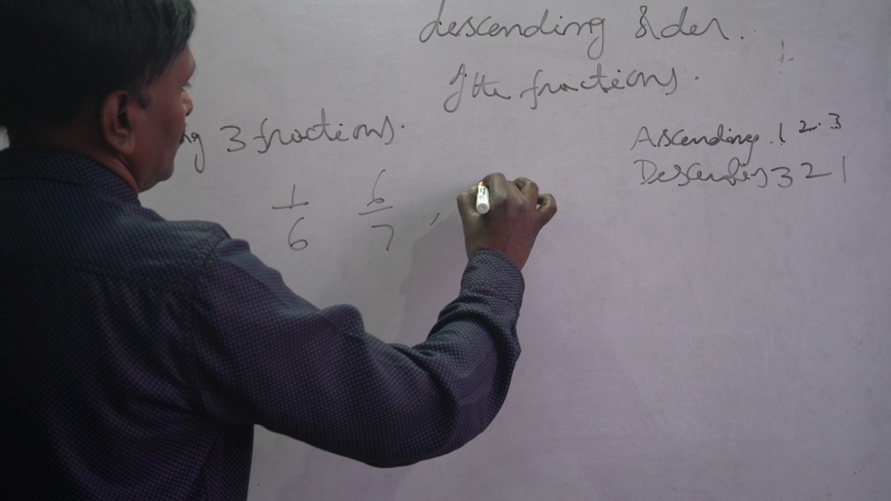 ascending and descending order of the fractions