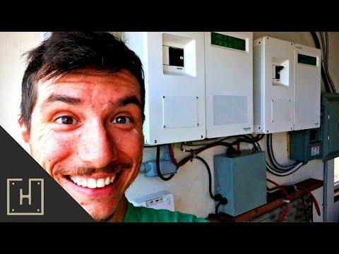 AWESOME OFF GRID DUAL INVERTER SOLAR SYSTEM TOUR (Tesla Model S Batteries)