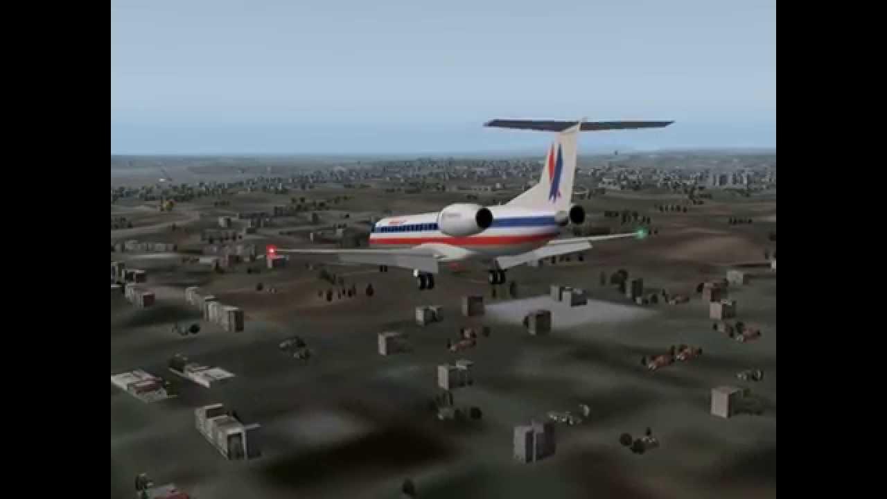 X Plane 9 American Eagle ERJ-145 Landing
