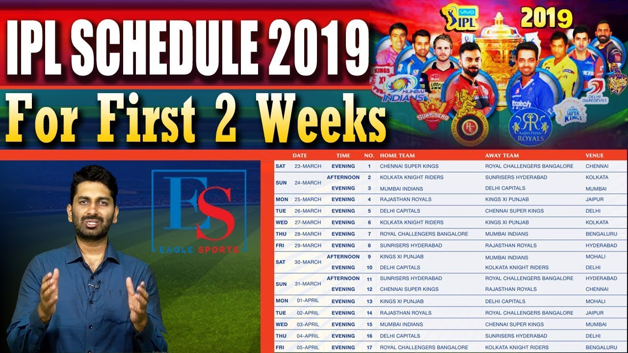 IPL 2019 Schedule & Venues  Released for first 2 Weeks || Eagle Sports