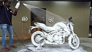Foam Bike Wash   Benelli TNT 300   Bangalore India