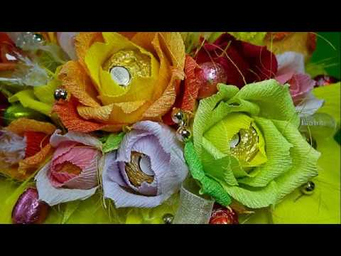 How To Make Crepe Paper Chocolate Flowers Bouquet Diy Easy And