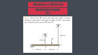 F2-2 Determine the noŗmal strain in wires BD and CE.