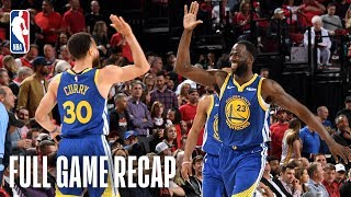 The Golden State Warriors defeated the Portland Trail Blazers in overtime by a final score of 119-117 to win the Western Conference Finals, 4-0. The Warriors join the Boston Celtics (10 consecutive appearances from 1957-66) as the only franchises in NBA history to reach at least five consecutive NBA Finals. Stephen Curry (37 points, 13 rebounds, 11 assists) and Draymond Green (18 points, 14 rebounds, 11 assists) led the way for the Warriors as they became the first teammates in NBA Playoffs history to record a triple-double in the same game. The Warriors will face off against the 2019 Eastern Conference Champion (winner of the Milwaukee Bucks-Toronto Raptors series) in the 2019 NBA Finals.  For Full Game Recaps visit: https://bit.ly/2MQ6ijV  Subscribe to the NBA: http://bit.ly/2rCglzY  For news, stories, highlights and more, go to our official website at http://www.nba.com  Get NBA LEAGUE PASS: http://www.nba.com/leaguepass  #Trailblazers #Warriors #NBA