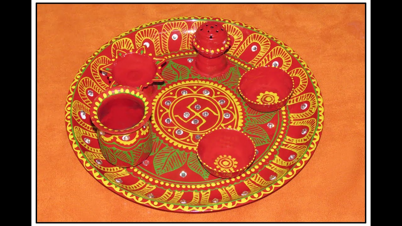 Diy how to decorate pooja thali puja thali at home for Arti thali decoration