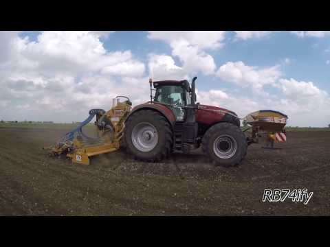 Rice Seed Drilling 2016 - CASE IH OPTUM 300 CVX & ALPEGO Airspeed AS4 600 Plus