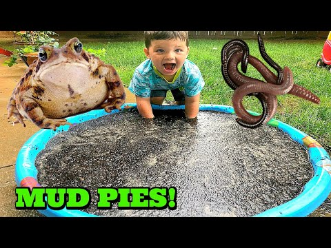 Kid Playing Outside Making Mud Pies, Muddy Puddles & Playing with Bugs & Frogs!
