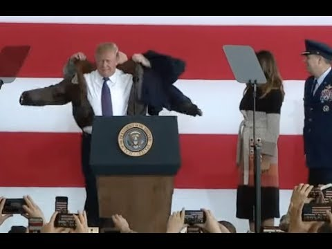 Trump Dons Bomber Jacket To Speak To US Troops In Japan
