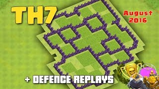 clash of clans town hall 7 th7 hybrid farming base august 2016 defence replays proof