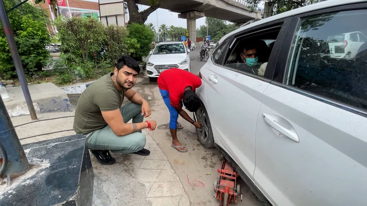 New car puncture ho gyi 😥