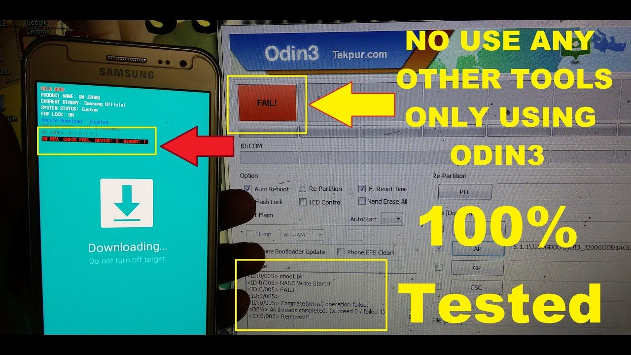 How To Fix Samsung Flash FAIL! SOLUTION/Samsung Odin3 Flash Fail/SW  REV CHECK FAIL! DEVICE:2 BINARY1
