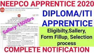 NEEPCO Apprentice Recruitment 2020 || NEEPCO Apprentice Online form 2020