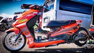4スト125cc、ヤマハ シグナスXベースのドラッグレーサーです。 バーンナウトもちゃんとやるんですね。 2020年12月5日(土曜日)にふくしまスカイパークで開催されたモーター ...