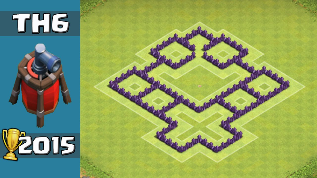 Clash of clans best th6 trophy base coc townhall 6 defence with