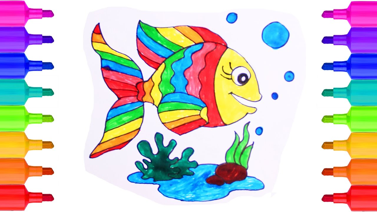 how to draw fish coloring pages for kids learning videos for