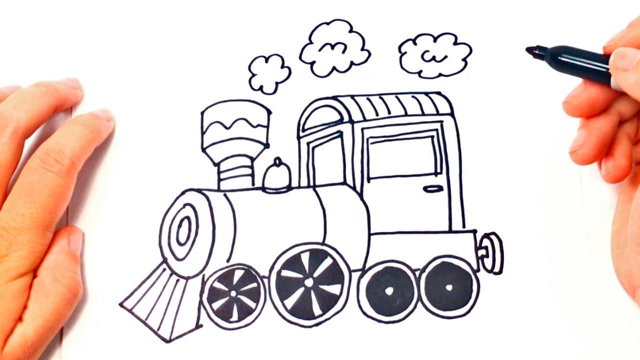 Cómo dibujar un Tren o Locomotora paso a paso | Dibujo fácil de Tren ...