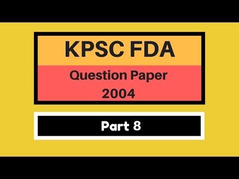 KPSC FDA PAPER 2004 | Part 8